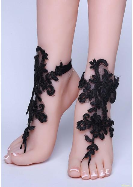 Black Lace Anklets T901556526034