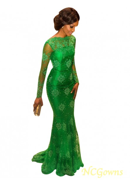 Long Sleeves Green Mermaid Long Evening Gown T801524704017