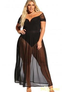 Black Mesh Off Shoulder Sexy Maxi Plus Size Dress T901554367005