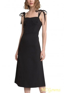 Black Tied Sleeveless Sexy Midi Plus Size Dress T901554367389