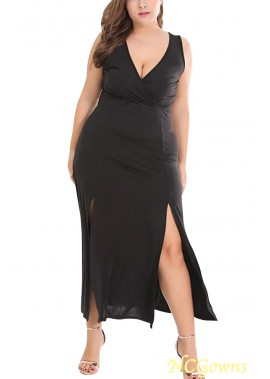 Black Wrap Slit Side Plunging Sleeveless Sexy Plus Size Dress T901554275666