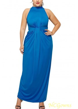 High Neck Sleeveless Pleated Sexy Party Plus Size Dress T901554193726