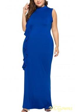 Ruffles Trim Sleeveless Mock Neck Casual Plus Size Dress T901554280607