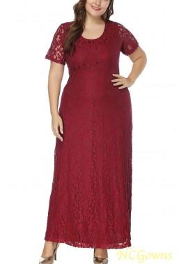 Short Sleeve Cutout Back Casual Plus Size Lace Dress T901554277344