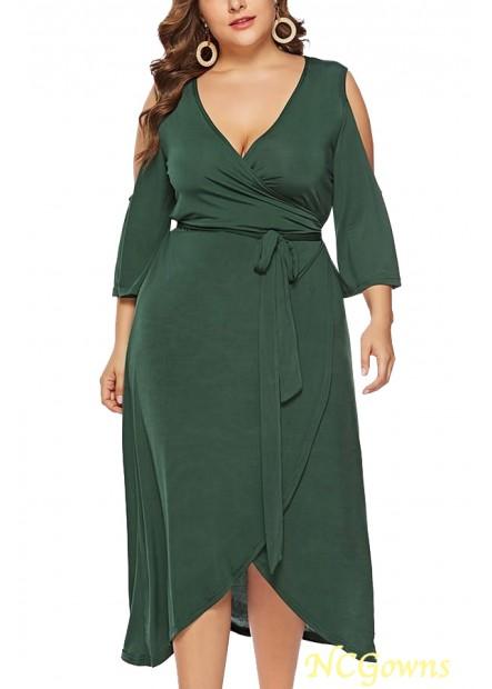 V Neck Wrap Cold Shoulder Tied Sexy Plus Size Overlap Dress T901553765038
