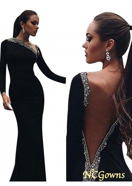 NCGowns Black Mermaid Long Evening Dress T801524703948