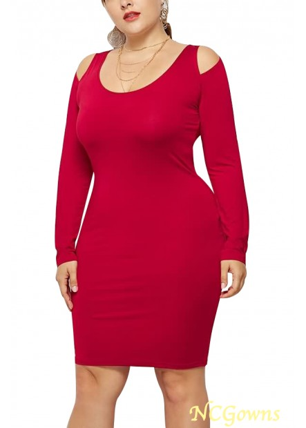 Cold Shoulder Scoop Neck Long Sleeve Sexy Party Plus Size Dress T901554195053