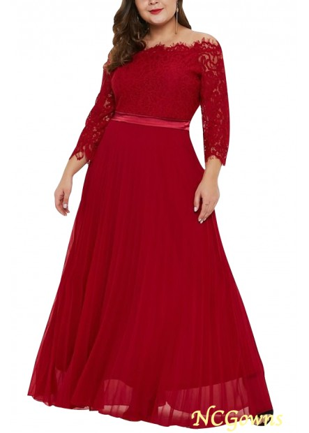Red Lace Chiffon Off Shoulder Tied Sexy Party Plus Size Maxi Dress T901553757715