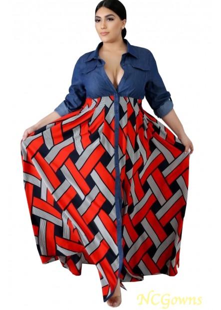 Tribal Print Button Up Casual Plus Size Maxi Shirt Dress T901553848498