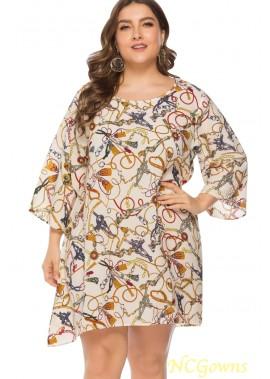 White Chain Print Round Neck Casual Plus Size Dress T901553761051