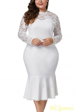Lace Crochet Mock Neck Long Sleeve Sexy Plus Size Mermaid Dress T901554191027