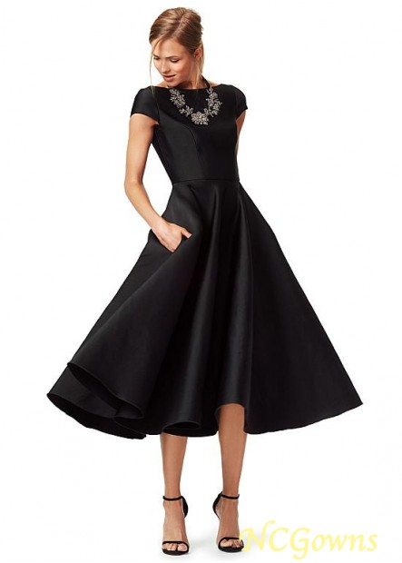 NCGowns Black Mother Of The Bride Dress Tea Length T801525338792