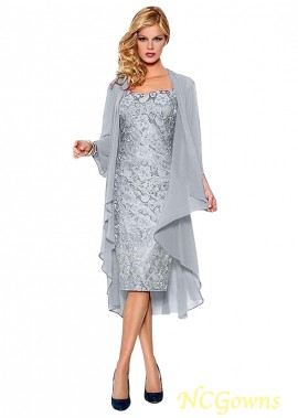 NCGowns Silver Lace Mother Of The Bride Dress With Jacket Knee Length