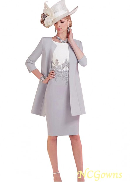 NCGowns Silver Mother Of The Bride Dress With Jacket Knee Length T801525338853