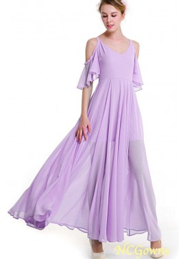Cold Shoulder Flounce Sleeve Pleated Sexy Maxi Chiffon Long Prom Dress T901553843445